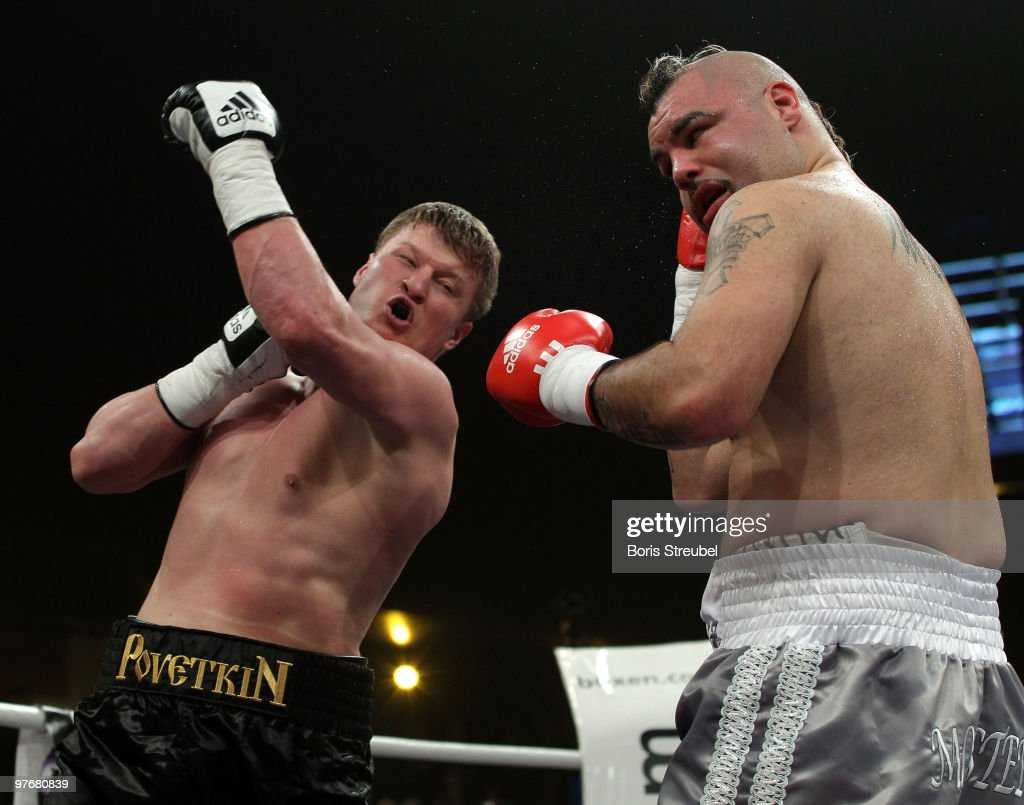 <a gi-track='captionPersonalityLinkClicked' href=/galleries/search?phrase=Alexander+Povetkin&family=editorial&specificpeople=2351769 ng-click='$event.stopPropagation()'>Alexander Povetkin</a> (L) of Russia and Javier Mora (R) of Mexico exchange punches during their Heavyweight fight at the Max-Schmeling-Halle on March 13, 2010 in Berlin, Germany.