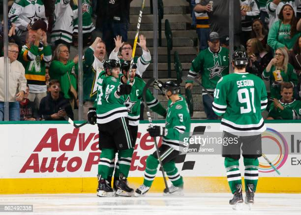 Alexander Radulov Jamie Benn John Klingberg and Tyler Seguin of the Dallas Stars celebrate a goal against the Colorado Avalanche at the American...