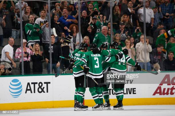 Alexander Radulov John Klingberg Jamie Benn and the Dallas Stars celebrate a goal against the Colorado Avalanche at the American Airlines Center on...