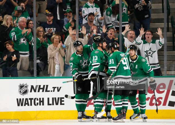 Alexander Radulov Marc Methot Tyler Seguin John Klingberg and the Dallas Stars celebrate a goal against the Colorado Avalanche at the American...