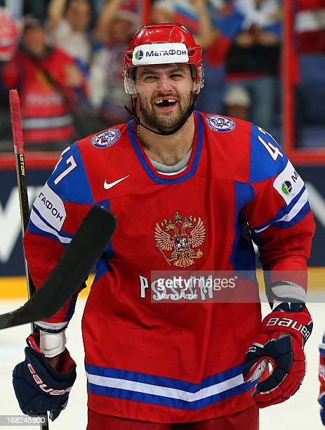 Alexander Radulov of Russia celebrates after he scores his team 4th goal during the IIHF World Championship group H match between Russia and USA at...