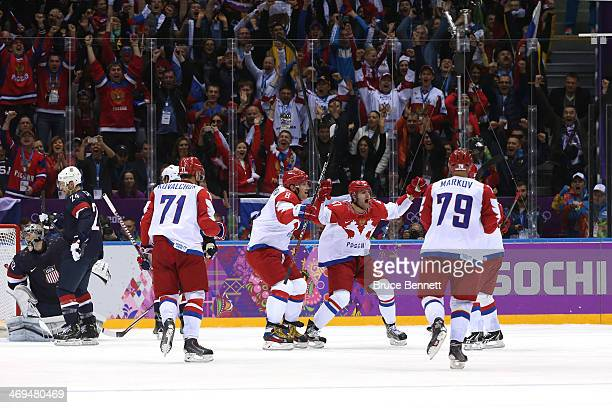 Alexander Radulov of Russia celebrates with teammates after Pavel Datsyuk of Russia scored a thirdperiod goal against Jonathan Quick of the United...