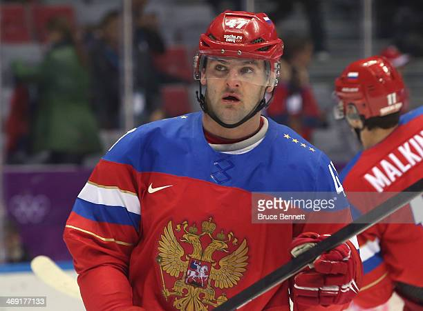 Alexander Radulov of Russia looks on against Slovenia during the Men's Ice Hockey Preliminary Round Group A game on day six of the Sochi 2014 Winter...