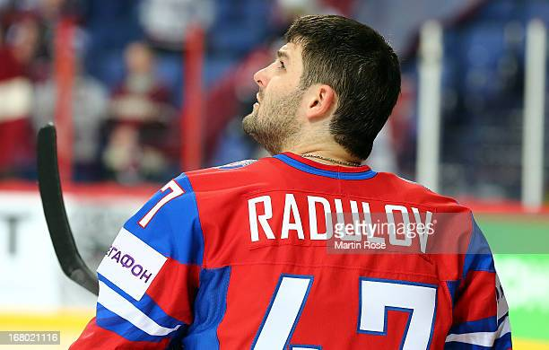 Alexander Radulov of Russia looks on during the IIHF World Championship group H match between Russia and Latvia at Hartwall Areena on May 4 2013 in...