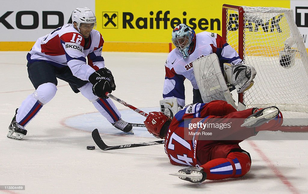 Alexander Radulov (#47) of Russia tries to score over Andrej Hocevar (R), goaltender of Slovenia during the IIHF World Championship group A match between Russia and Slovenia at Orange Arena on May 1, 2011 in Bratislava, Slovakia.