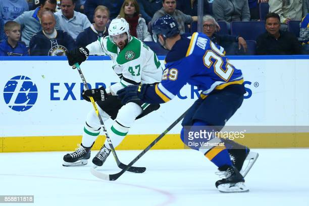 Alexander Radulov of the Dallas Stars controls the puck against the St Louis Blues in the second period at the Scottrade Center on October 7 2017 in...