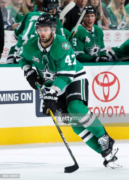 Alexander Radulov of the Dallas Stars handles the puck against the Vegas Golden Knights at the American Airlines Center on October 6 2017 in Dallas...