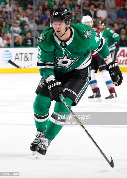 Alexander Radulov of the Dallas Stars skates against the Colorado Avalanche at the American Airlines Center on October 14 2017 in Dallas Texas