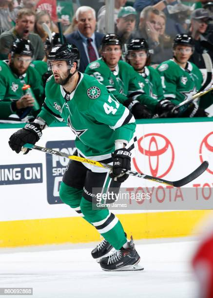 Alexander Radulov of the Dallas Stars skates against the Detroit Red Wings at the American Airlines Center on October 10 2017 in Dallas Texas