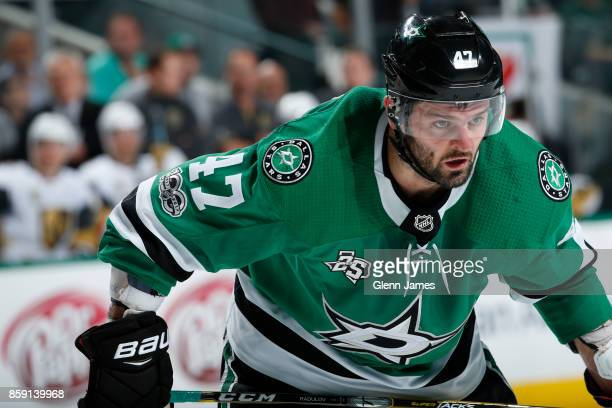 Alexander Radulov of the Dallas Stars skates against the Vegas Golden Knights at the American Airlines Center on October 6 2017 in Dallas Texas