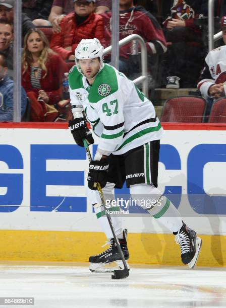 Alexander Radulov of the Dallas Stars skates with the puck against the Arizona Coyotes at Gila River Arena on October 19 2017 in Glendale Arizona