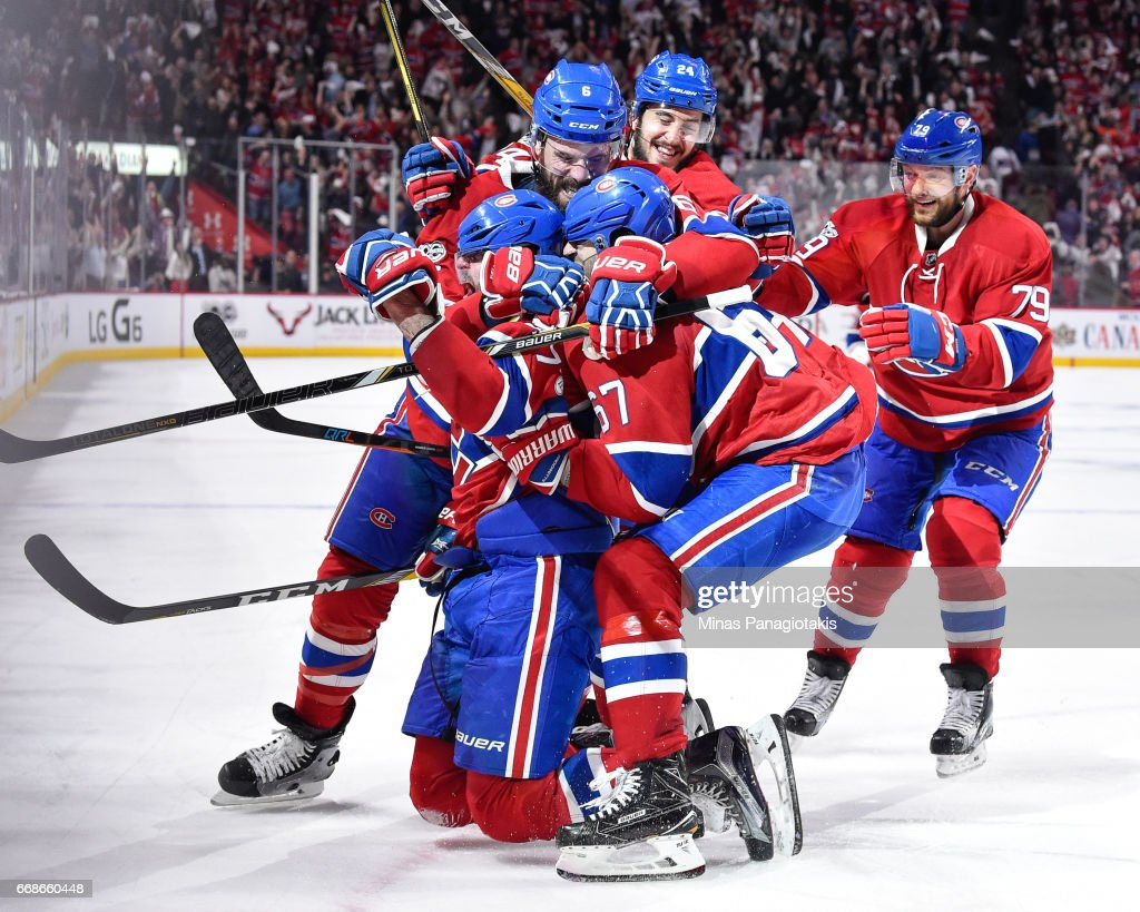 Alexander Radulov #47 of the Montreal Canadiens celebrates his overtime goal with teammates against the New York Rangers in Game Two of the Eastern Conference First Round during the 2017 NHL Stanley Cup Playoffs at the Bell Centre on April 14, 2017 in Montreal, Quebec, Canada. The Montreal Canadiens defeated the New York Rangers 4-3 in overtime.