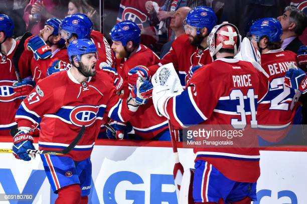 Alexander Radulov of the Montreal Canadiens celebrates with teammates on the bench in Game Two of the Eastern Conference First Round during the 2017...