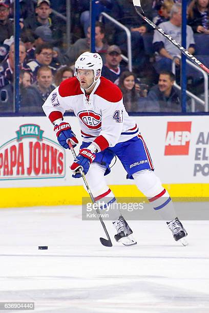 Alexander Radulov of the Montreal Canadiens controls the puck during the game against the Columbus Blue Jackets on December 23 2016 at Nationwide...