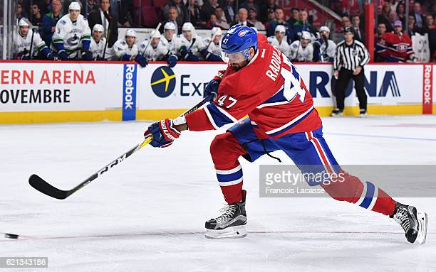 Alexander Radulov of the Montreal Canadiens fires a slap shot against the Vancouver Canucks in the NHL game at the Bell Centre on November 2 2016 in...
