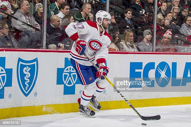 Alexander Radulov of the Montreal Canadiens handles the puck against the Minnesota Wild during the game on January 12 2017 at the Xcel Energy Center...