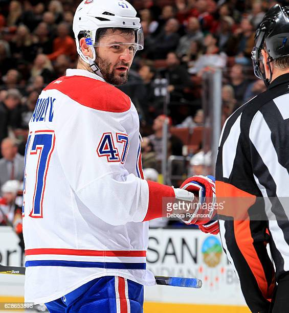 Alexander Radulov of the Montreal Canadiens looks on during the game against the Anaheim Ducks at Honda Center in Anaheim California