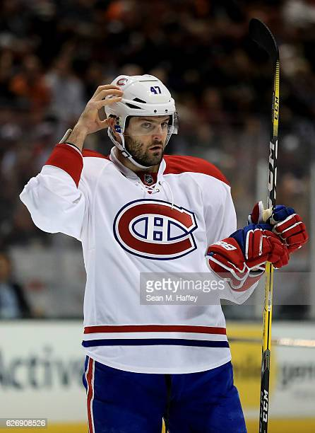Alexander Radulov of the Montreal Canadiens looks on during the second period of a game against the Anaheim Ducks at Honda Center on November 29 2016...