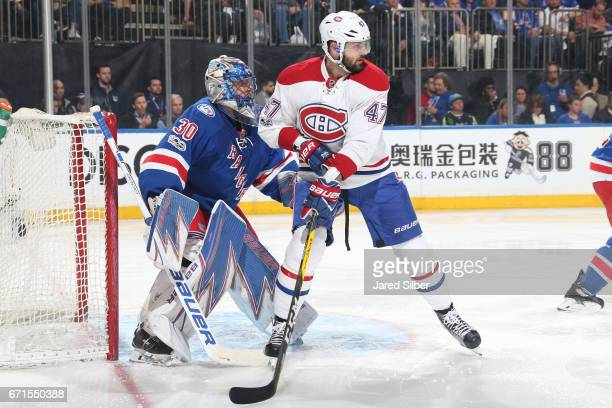 Alexander Radulov of the Montreal Canadiens skates against Henrik Lundqvist of the New York Rangers in Game Four of the Eastern Conference First...