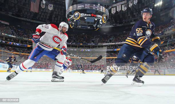 Alexander Radulov of the Montreal Canadiens skates against Rasmus Ristolainen of the Buffalo Sabres during an NHL game at KeyBank Center on April 5...