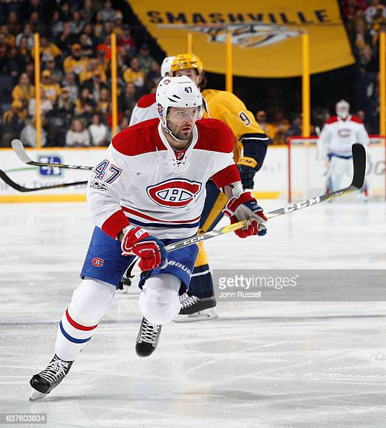 Alexander Radulov of the Montreal Canadiens skates against the Nashville Predators during an NHL game at Bridgestone Arena on January 3 2017 in...