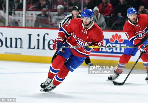 Alexander Radulov of the Montreal Canadiens skates against the St Louis Blues in the NHL game at the Bell Centre on February 11 2017 in Montreal...