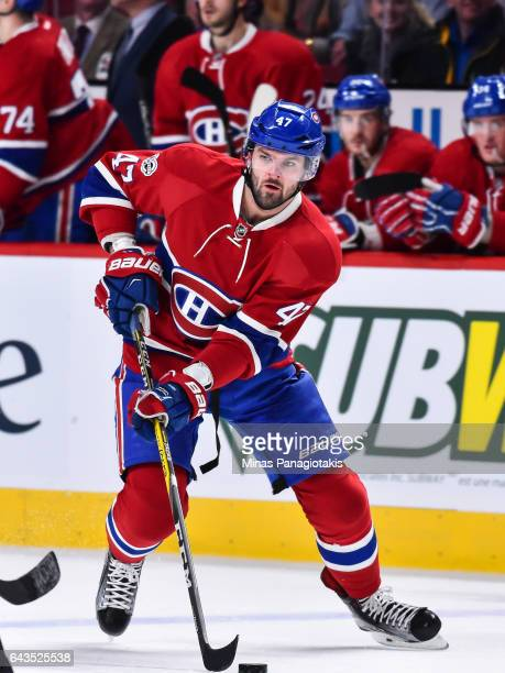 Alexander Radulov of the Montreal Canadiens skates the puck during the NHL game against the Winnipeg Jets at the Bell Centre on February 18 2017 in...