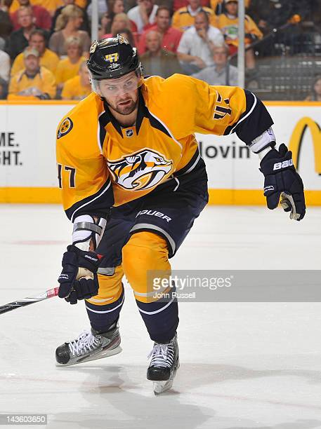 Alexander Radulov of the Nashville Predators skates against the Detroit Red Wings in Game Five of the Western Conference Quarterfinals during the...