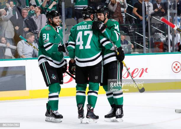 Alexander Radulov Tyler Seguin Jamie Benn and the Dallas Stars celebrate a goal against the Arizona Coyotes at the American Airlines Center on...