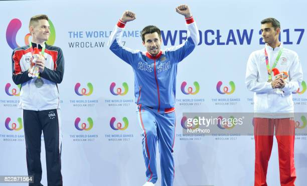Alexander Renkert Mikhail Zalomin and Diogo Carvalho Costa Men's Tumbling poddium of The World Games 2017 at the National Forum of Music On Tuesday...
