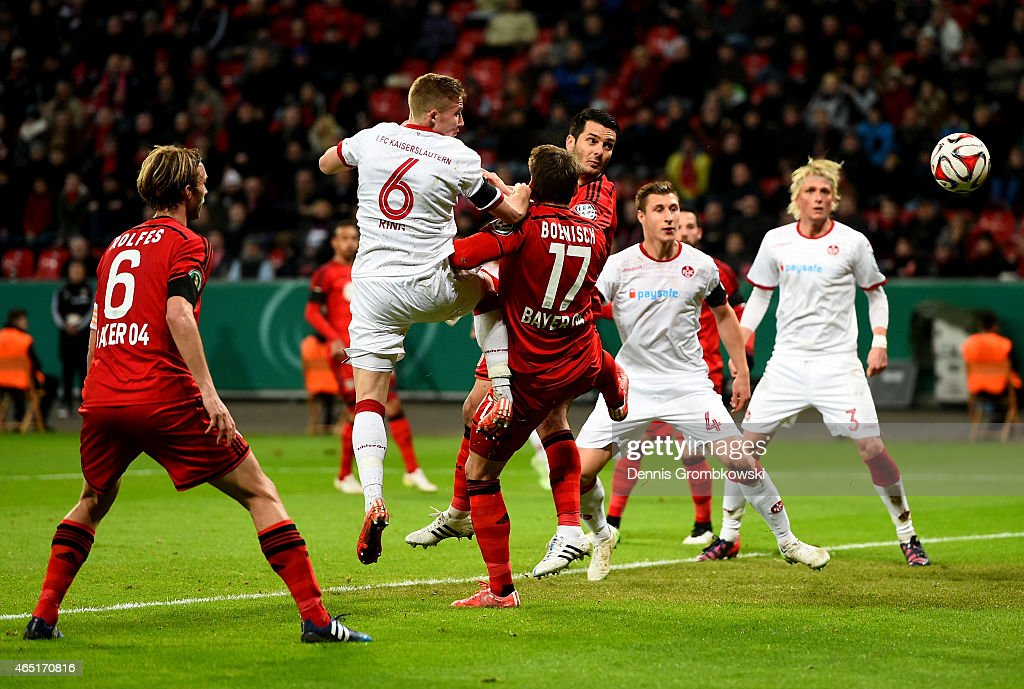 <a gi-track='captionPersonalityLinkClicked' href=/galleries/search?phrase=Alexander+Ring&family=editorial&specificpeople=5588968 ng-click='$event.stopPropagation()'>Alexander Ring</a> #6 of Kaiserslautern heads at goal during the round of 16 DFB Cup match between Bayer 04 Leverkusen and 1. FC Kaiserlautern at BayArena on March 3, 2015 in Leverkusen, Germany.