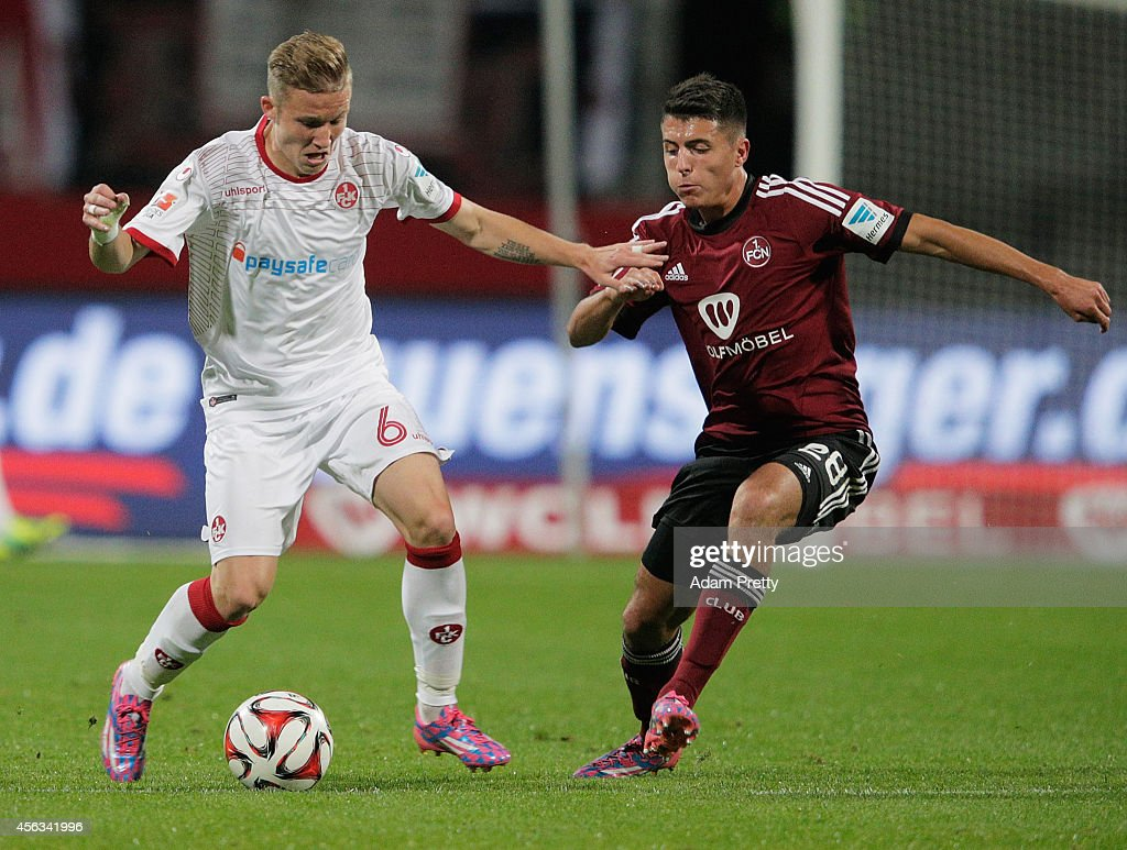 <a gi-track='captionPersonalityLinkClicked' href=/galleries/search?phrase=Alexander+Ring&family=editorial&specificpeople=5588968 ng-click='$event.stopPropagation()'>Alexander Ring</a> of Kaiserslautern in action during the FC Nuernberg v 1. FC Kaiserslautern - 2. Bundesliga match at Grundig-Stadion on September 29, 2014 in Nuremberg, Germany.
