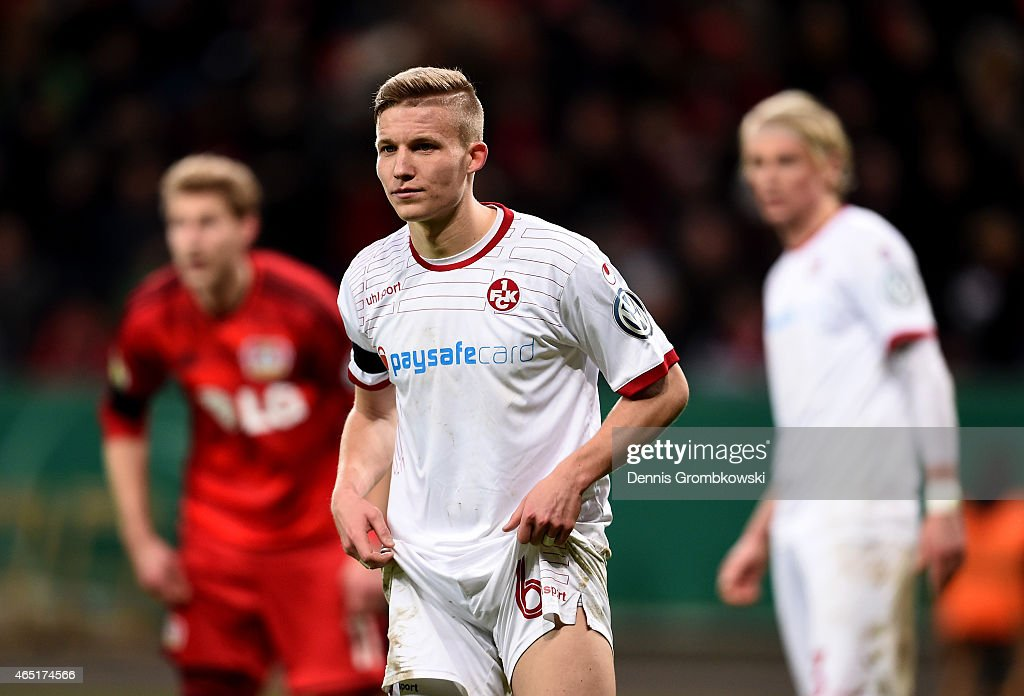 <a gi-track='captionPersonalityLinkClicked' href=/galleries/search?phrase=Alexander+Ring&family=editorial&specificpeople=5588968 ng-click='$event.stopPropagation()'>Alexander Ring</a> of Kaiserslautern reacts during extra time during the round of 16 DFB Cup match between Bayer 04 Leverkusen and 1. FC Kaiserlautern at BayArena on March 3, 2015 in Leverkusen, Germany.