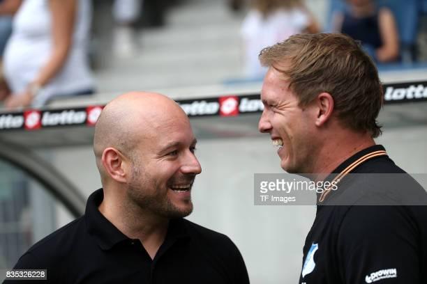 Alexander Rosen of Hoffenheim and Head coach Julian Nagelsmann of Hoffenheim looks on during the preseason friendly match between TSG 1899 Hoffenheim...