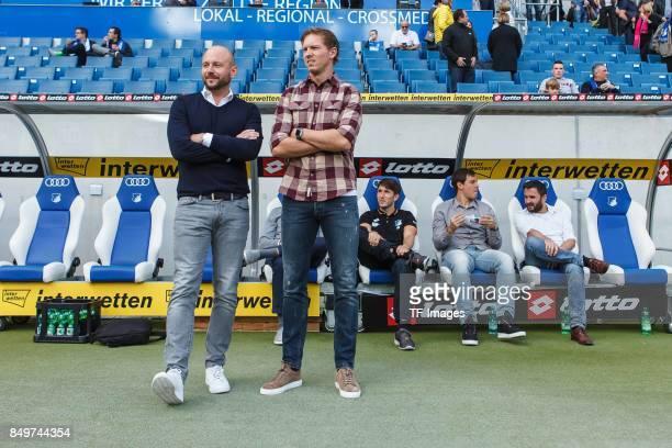 Alexander Rosen of Hoffenheim and Head coach Julian Nagelsmann of Hoffenheim looks on during the Bundesliga match between TSG 1899 Hoffenheim and...