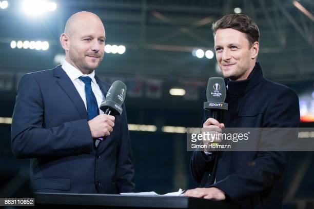 Alexander Rosen of Hoffenheim is interviewed by TV Presenter Jochen Stutzky during the UEFA Europa League group C match between 1899 Hoffenheim and...
