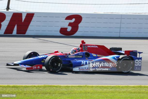 Alexander Rossi driver of the MilitaryMotorsportscom /Curb of the United States drives during the IndyCar ABC Supply 500 on August 20 at Pocono...