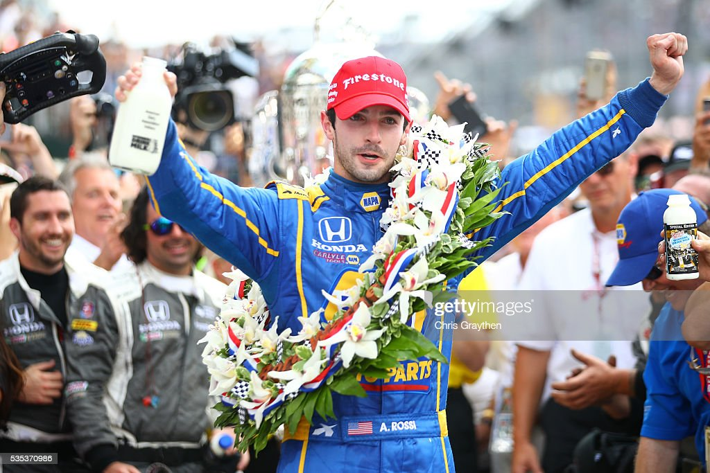 <a gi-track='captionPersonalityLinkClicked' href=/galleries/search?phrase=Alexander+Rossi&family=editorial&specificpeople=6547871 ng-click='$event.stopPropagation()'>Alexander Rossi</a>, driver of the #98 NAPA Auto Parts Andretti Herta Autosport Honda celebrates after winning the 100th running of the Indianapolis 500 at Indianapolis Motorspeedway on May 29, 2016 in Indianapolis, Indiana.