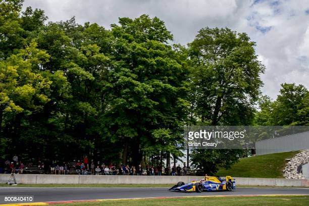 Alexander Rossi drives the Honda IndyCar on the track during the Verizon IndyCar Series Kohler Grand Prix at Road America on June 25 2017 in Elkhart...