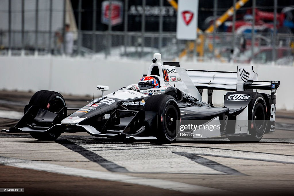 <a gi-track='captionPersonalityLinkClicked' href=/galleries/search?phrase=Alexander+Rossi&family=editorial&specificpeople=6547871 ng-click='$event.stopPropagation()'>Alexander Rossi</a> drives the #98 Honda IndyCar through a turn during Practice for the Firestone Grand Prix of St. Petersburg IndyCar race on March 11, 2016 in St Petersburg, Florida.