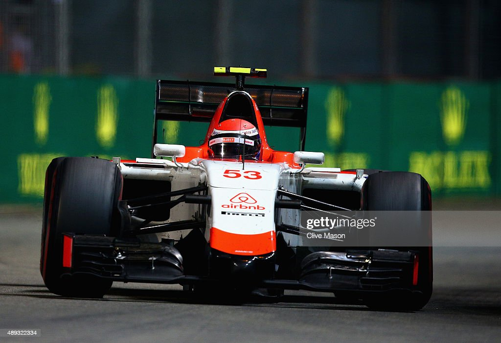 <a gi-track='captionPersonalityLinkClicked' href=/galleries/search?phrase=Alexander+Rossi&family=editorial&specificpeople=6547871 ng-click='$event.stopPropagation()'>Alexander Rossi</a> of the United States and Manor Marussia drives during the Formula One Grand Prix of Singapore at Marina Bay Street Circuit on September 20, 2015 in Singapore.