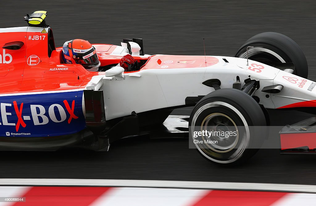 <a gi-track='captionPersonalityLinkClicked' href=/galleries/search?phrase=Alexander+Rossi&family=editorial&specificpeople=6547871 ng-click='$event.stopPropagation()'>Alexander Rossi</a> of the United States and Manor Marussia drives during final practice for the Formula One Grand Prix of Japan at Suzuka Circuit on September 26, 2015 in Suzuka.