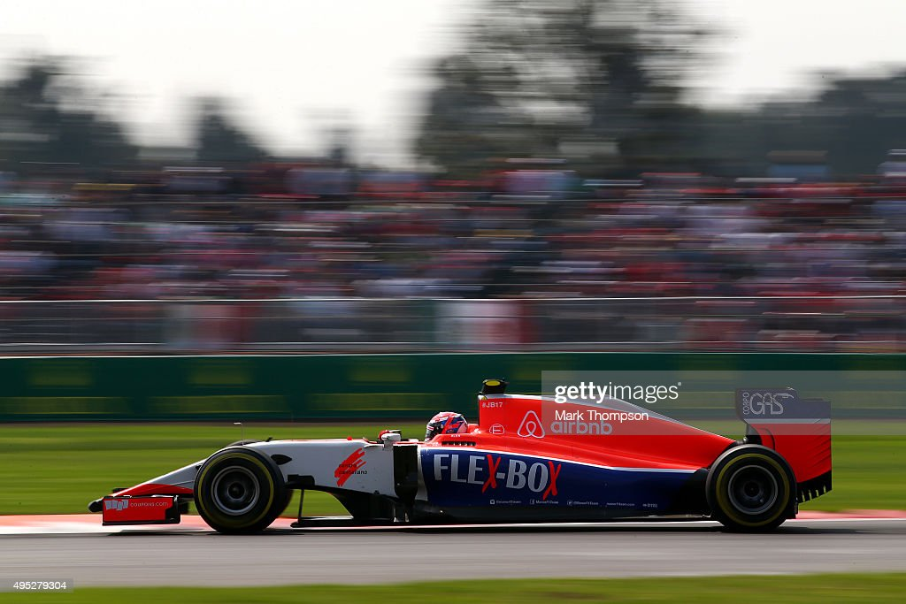 <a gi-track='captionPersonalityLinkClicked' href=/galleries/search?phrase=Alexander+Rossi&family=editorial&specificpeople=6547871 ng-click='$event.stopPropagation()'>Alexander Rossi</a> of the United States and Manor Marussia drives during the Formula One Grand Prix of Mexico at Autodromo Hermanos Rodriguez on November 1, 2015 in Mexico City, Mexico.
