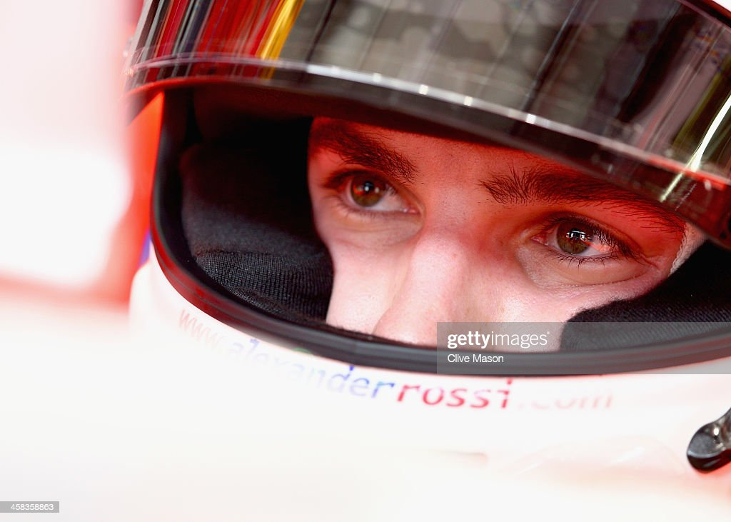 <a gi-track='captionPersonalityLinkClicked' href=/galleries/search?phrase=Alexander+Rossi&family=editorial&specificpeople=6547871 ng-click='$event.stopPropagation()'>Alexander Rossi</a> of the United States and Manor Marussia sits in his car in the garage during practice for the Formula One Grand Prix of Brazil at Autodromo Jose Carlos Pace on November 13, 2015 in Sao Paulo, Brazil.