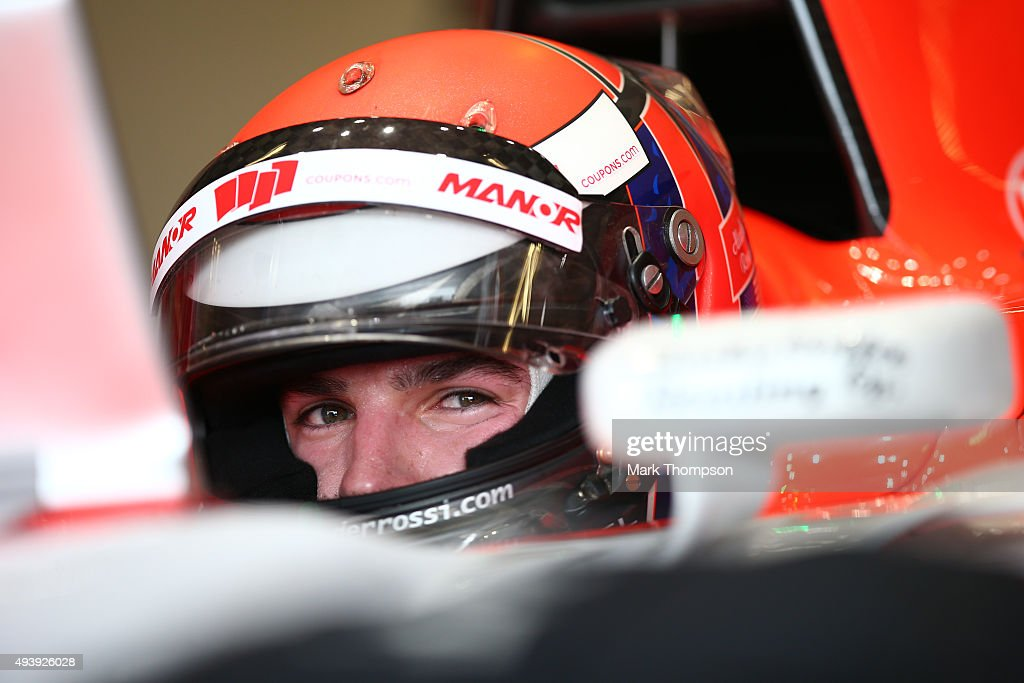 <a gi-track='captionPersonalityLinkClicked' href=/galleries/search?phrase=Alexander+Rossi&family=editorial&specificpeople=6547871 ng-click='$event.stopPropagation()'>Alexander Rossi</a> of the United States and Manor Marussia sits in his car in the garage during practice for the United States Formula One Grand Prix at Circuit of The Americas on October 23, 2015 in Austin, United States.