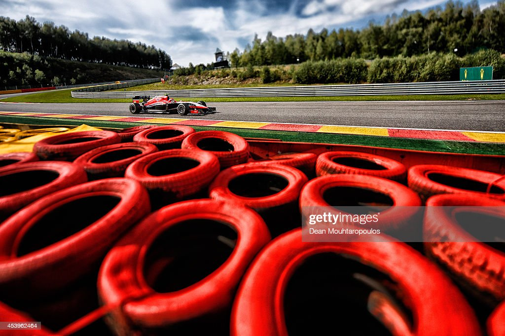 Alexander Rossi of the United States and Marussia drives during practice ahead of the Belgian Grand Prix at Circuit de Spa-Francorchamps on August 22, 2014 in Spa, Belgium.
