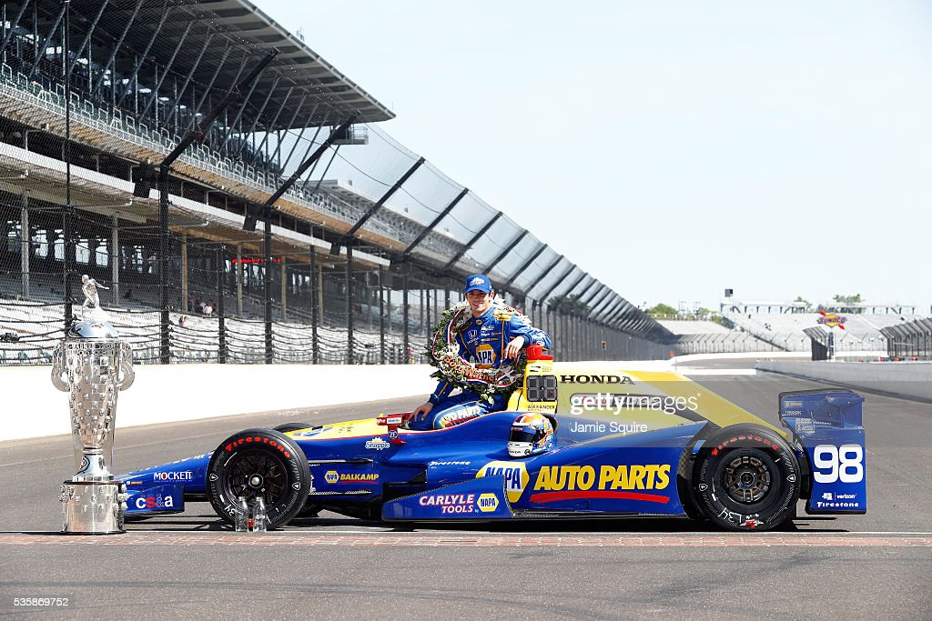 <a gi-track='captionPersonalityLinkClicked' href=/galleries/search?phrase=Alexander+Rossi&family=editorial&specificpeople=6547871 ng-click='$event.stopPropagation()'>Alexander Rossi</a> of the United States, driver of the #98 Andretti Herta Autosport Honda Dallara, poses during a photoshoot after winning the 100th running of the Indianapolis 500 at Indianapolis Motorspeedway on May 29, 2016 in Indianapolis, Indiana.