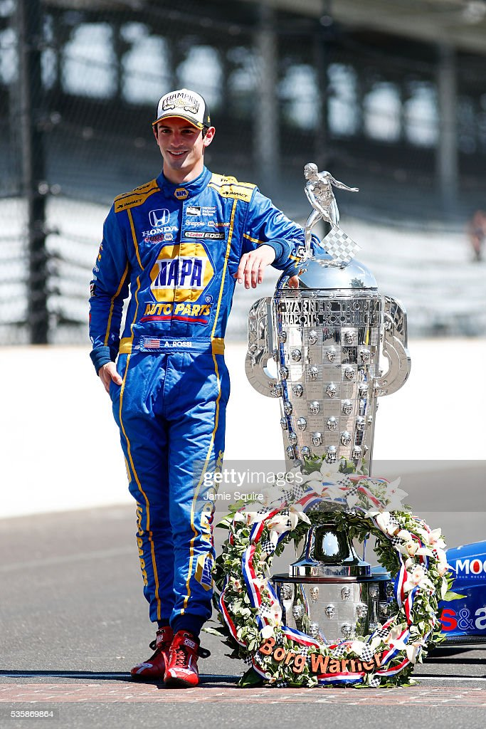 <a gi-track='captionPersonalityLinkClicked' href=/galleries/search?phrase=Alexander+Rossi&family=editorial&specificpeople=6547871 ng-click='$event.stopPropagation()'>Alexander Rossi</a> of the United States, driver of the #98 Andretti Herta Autosport Honda Dallara, poses with the Borg-Warner trophy during a photoshoot after winning the 100th running of the Indianapolis 500 at Indianapolis Motorspeedway on May 30, 2016 in Indianapolis, Indiana.