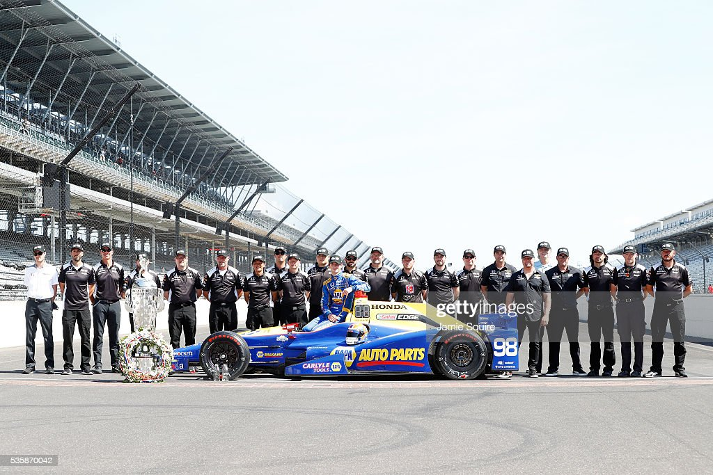 <a gi-track='captionPersonalityLinkClicked' href=/galleries/search?phrase=Alexander+Rossi&family=editorial&specificpeople=6547871 ng-click='$event.stopPropagation()'>Alexander Rossi</a> of the United States, driver of the #98 Andretti Herta Autosport Honda Dallara, poses with team owners Michael Andretti and Bryan Herta during a photoshoot after winning the 100th running of the Indianapolis 500 at Indianapolis Motorspeedway on May 30, 2016 in Indianapolis, Indiana.