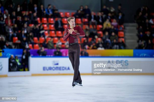 Alexander Samarin of Russia competes in the Men's Free Skating during day two of the ISU Grand Prix of Figure Skating at Polesud Ice Skating Rink on...